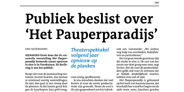 """""""De Beslissing Is Aan Het Publiek."""" – Dagblad Van Het Noorden"""